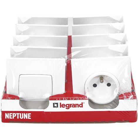 Lot de 2 va-et-vient et 8 prises 2P+T Legrand - Neptune - Blanc