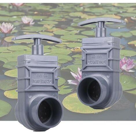 Lot de 2 vannes guillotines PVC 40 mm pour bassin de jardin et étang