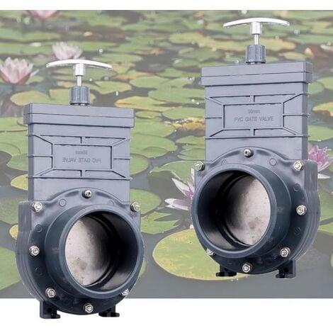 Lot de 2 Vannes Guillotines PVC 90 mm pour bassins de jardin
