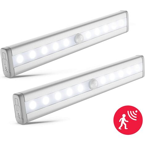 lot de 2 veilleuses LED avec détecteur de mouvement, éclairage armoire placard vitrine, réglette LED, auto-adhésif, alimentation par piles AAA (non fournies), finition aluminium