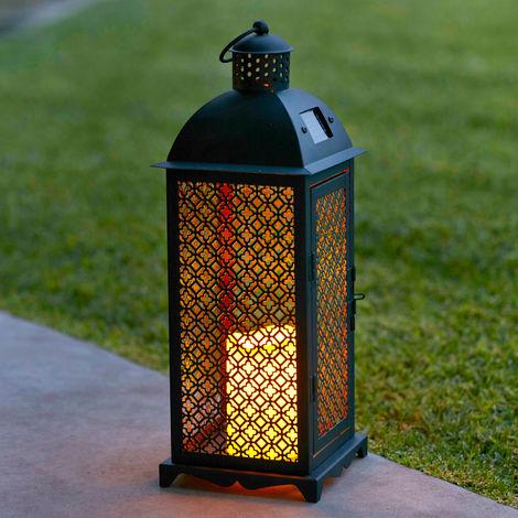Lot de 2 x Grandes Lanternes Solaires Marocaines en Métal avec Bougie LED pour Jardin Lights4fun