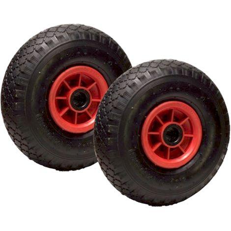 LOT de 2 x roue gonflable diable 260 x 85 (3.00-4) alésage 20 mm roulement à rouleaux