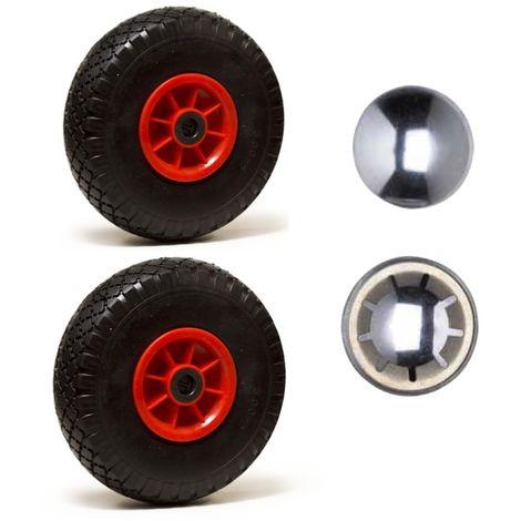 LOT de 2 x roue gonflable diable 260 x 85 (3.00-4) alésage 25 mm roulement à rouleaux + 2 x calotte autobloquante