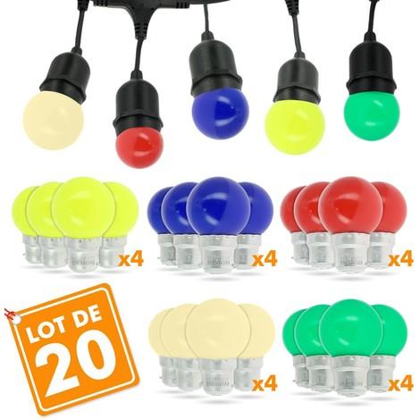 Lot de 20 Ampoules B22 1W panaché 5 Couleurs Guirlande Fête