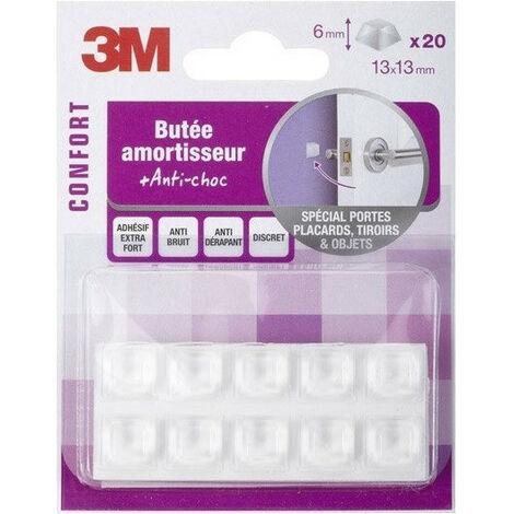 Lot de 20 butées amortisseurs carrés adhésives transparents 13x13x6mm