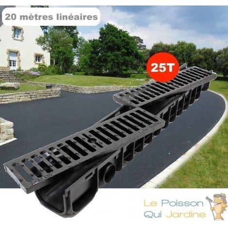 Lot de 20 : Caniveau 1 Mètre - 25 Tonnes Pour Drainage D'Eaux Usées.
