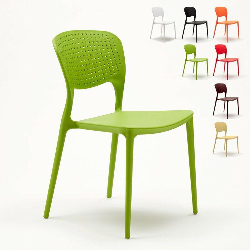 Lot de 20 chaises en polypropylène colorées empilables bar restaurant glacier Garden Giulietta   Vert