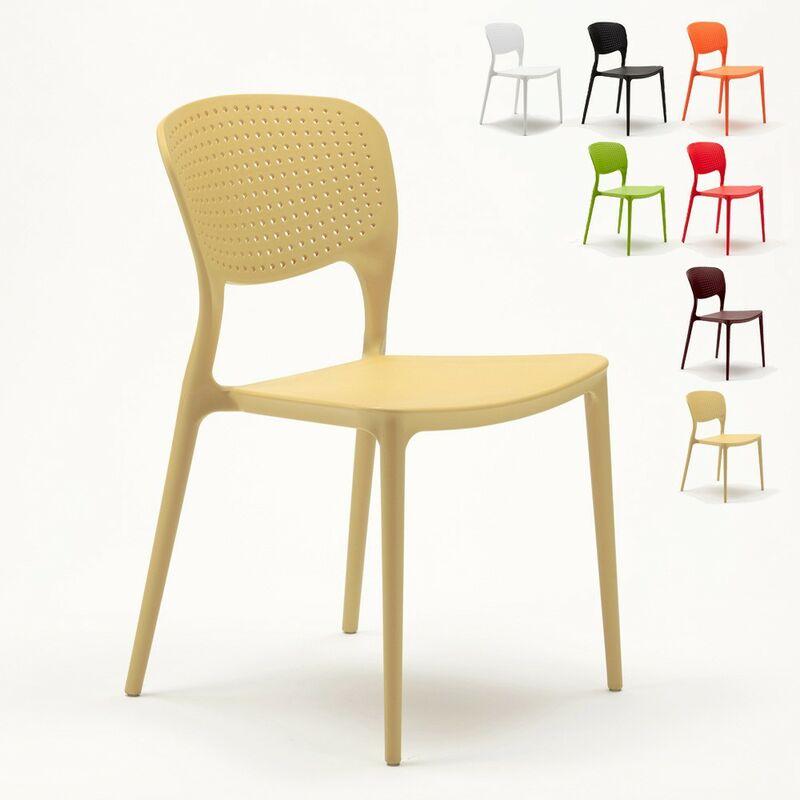 Lot de 20 chaises en polypropylène colorées empilables bar restaurant glacier Garden Giulietta   Beige