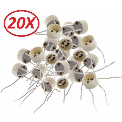 Lot de 20 Douilles Culot GU10 pour Ampoule Halogène ou Led