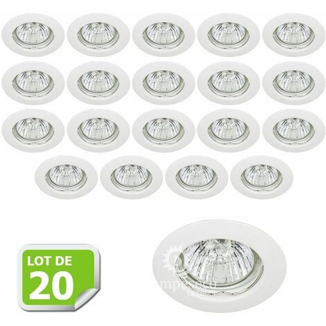Lot de 20 Fixation de spot encastrable Classic White Diamètre 77mm ref. 932