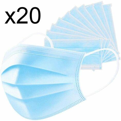 Lot de 20 masque chirurgical jetable protection respiratoire 3 couches pour le visage hypoallergénique et respirant Norme CE