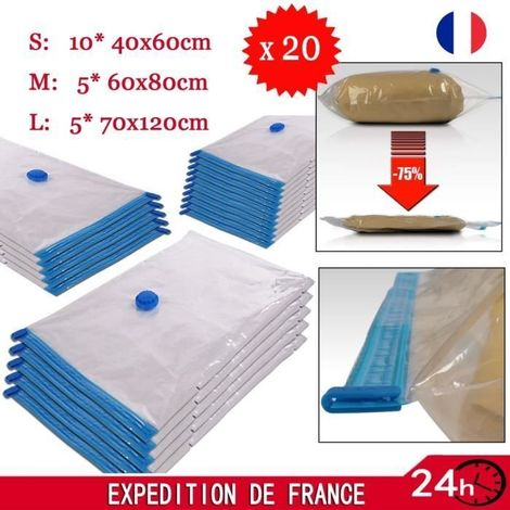 Lot De 20 Pcs Sac De Stockage Sous Vide Housse De Rangement Compresse