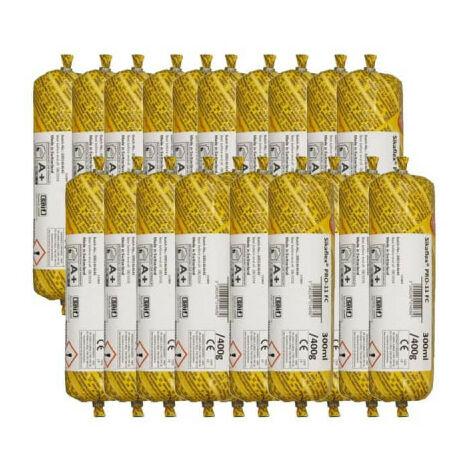 Lot de 20 poches recharge mastic colle SIKA Sikaflex PRO 11 FC - Gris - 300ml - Gris