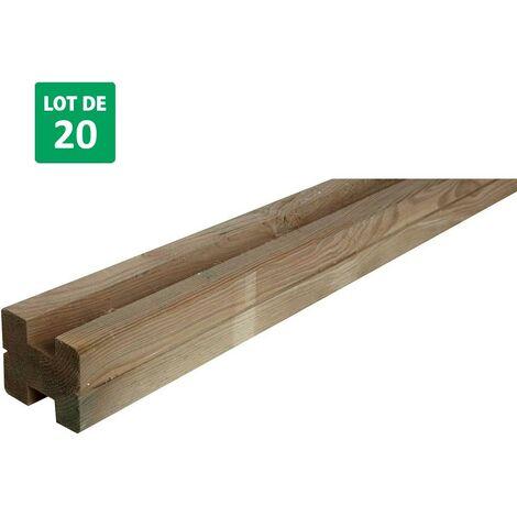 Lot de 20 poteaux en bois avec rainures en H pour clôtures - Forest-Style