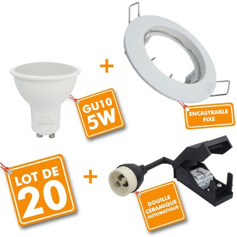 Lot de 20 Spot encastrable fixe complet blanc avec GU10 LED de 5W eq 40W