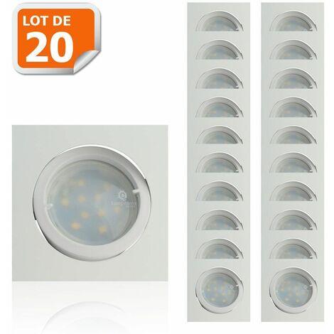 Lot de 20 Spot Led Encastrable Carré Blanc Orientable lumière Blanc Chaud 5W eq. 50W ref.404