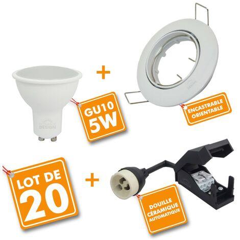 Lot de 20 Spot LED encastrable complet orientable blanc avec Ampoule GU10 230V 5W