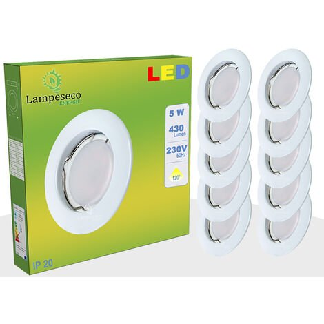 Lot de 20 Spot Led Encastrable Complete Blanc Lumière Blanc Neutre 5W eq.50W ref.770