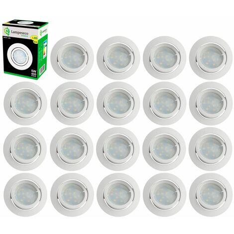 Lot de 20 Spot Led Encastrable Complete Blanc Orientable lumière Blanc Chaud eq. 50W ref.193