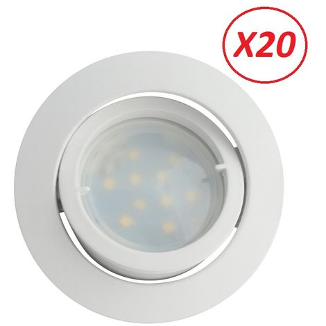 Lot de 20 Spot Led Encastrable Complete Blanc Orientable lumière Blanc Neutre eq. 50W ref.888