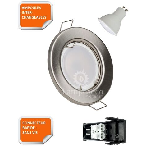 LOT DE 20 SPOT LED ENCASTRABLE COMPLETE RONDE FIXE ALU BROSSE eq. 50W BLANC CHAUD