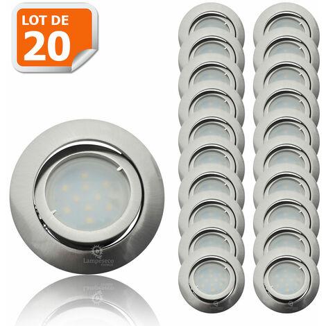 Lot de 20 Spot Led Encastrable Complete Satin Orientable lumière Blanc Chaud eq. 50W ref.209