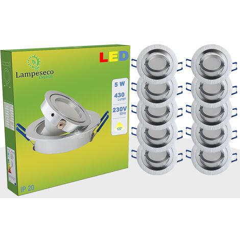 LOT DE 20 SPOT LED ENCASTRABLE ORIENTABLE 5W eq. 50W, BLANC FROID ref.64856000