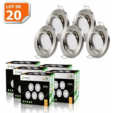 LOT DE 20 SPOT LED ENCASTRABLE ORIENTABLE ALU BROSSE AVEC AMPOULE GU10 230V eq. 50W, BLANC CHAUD