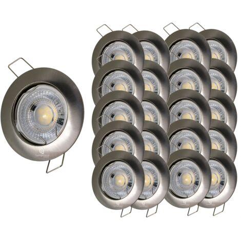 LOT DE 20 SPOT LED FIXE COMPLETE ALU BROSSE 38°