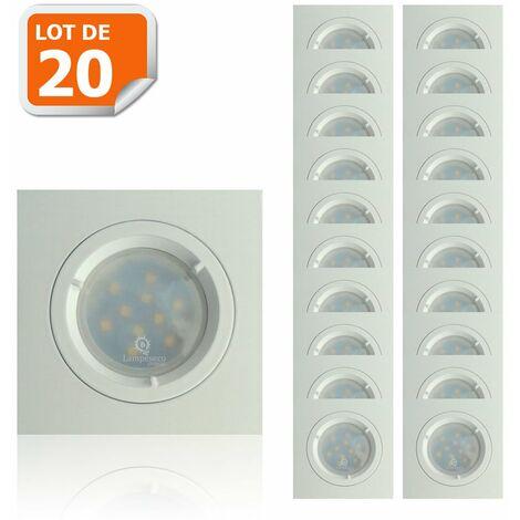 Lot de 20 Spots Led Blanc Carré lumière Blanc Neutre 5W eq. 50W ref.464