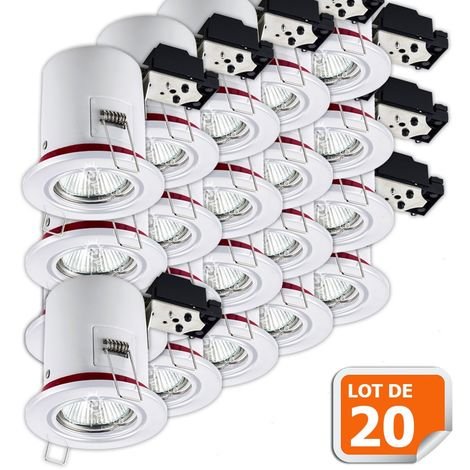 Lot de 20 Support de spot BBC Orientable Blanc diametre 90mm avec douille GU10