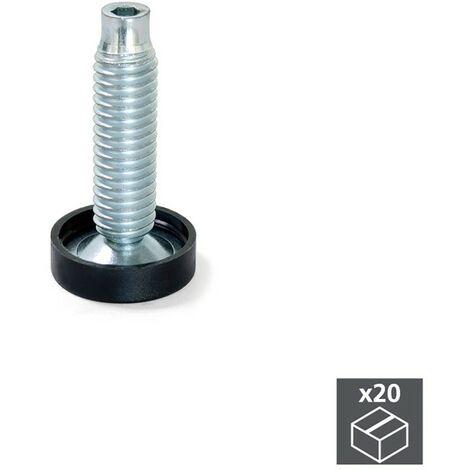 Lot de 20 Vérnis circulaire M10 pour pied de meuble Emuca D. 23 à réglage intérieur H 61 mm