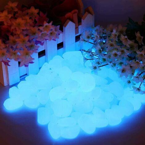 Lot de 200 pierres lumineuses bleues - 200 pièces - Pierres décoratives pour le jardin, les routes, la décoration en plein air, les aquariums, les allées