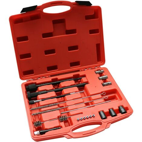 Lot de 21 outils de nettoyage pour siège d'injecteur diesel.