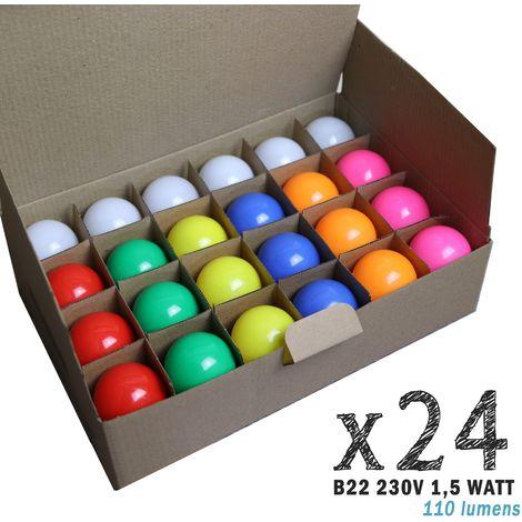 Lot de 24 ampoules LED B22 1,5W (équivalent 15W) pour Guirlande Extérieure   non-dimmable