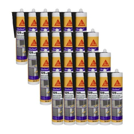 Lot de 24 mastic silicones spécial joint de menuiserie - SIKA SikaSeal 109 Menuiserie - Anthracite - 300ml - Gris