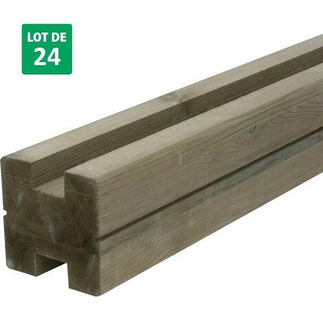 Lot de 24 poteaux de jardin en bois forme H pour clôture - Forest-Style