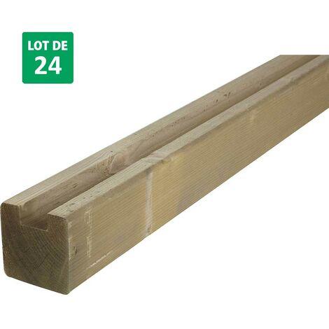 Lot de 24 poteaux U en bois pour clôture de jardin 9x9x240cm - Forest-Style