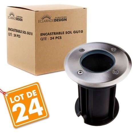 Lot de 24 Spots Encastrable de sol INOX 304 GU10