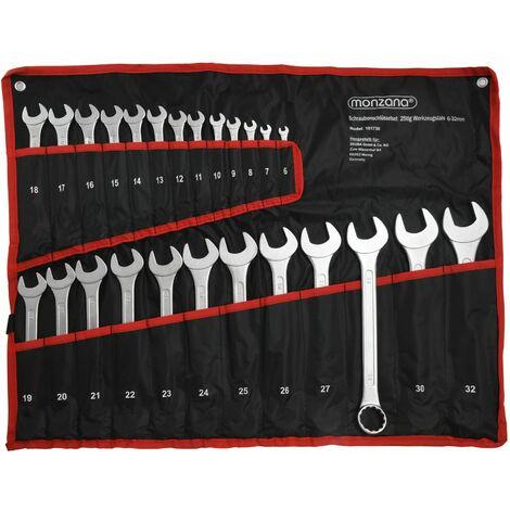 Lot de 25 clés mixtes -acier à outils 6-32mm - lot jeu clé polygonales et plates