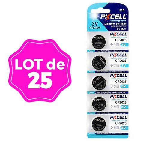 Lot de 25 Piles Bouton CR2025 3V 150mAh Lithium PKCell