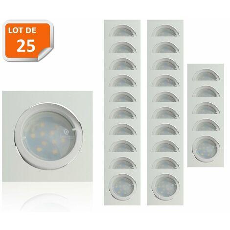 Lot de 25 Spot Led Encastrable Carré Blanc Orientable lumière Blanc Chaud 5W eq. 50W ref.404