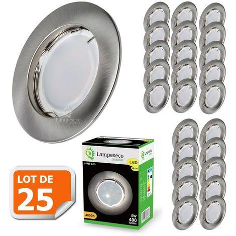 Lot de 25 Spot Led Encastrable Complete Alu Brossé Lumière Blanc Chaud 5W eq.50W ref.763