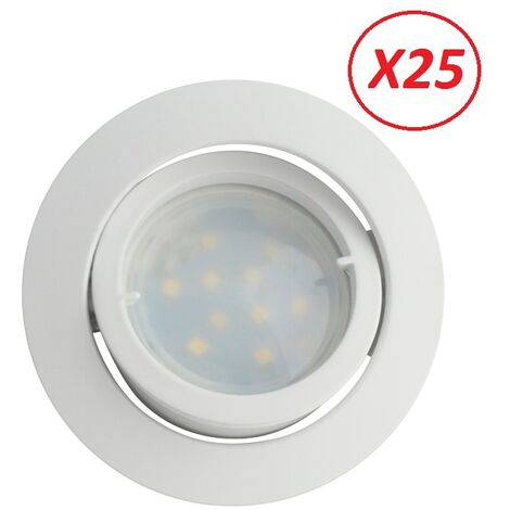 Lot de 25 Spot Led Encastrable Complete Blanc Orientable lumière Blanc Neutre eq. 50W ref.888
