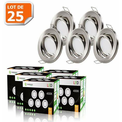 LOT DE 25 SPOT LED ENCASTRABLE COMPLETE ORIENTABLE ALU BROSSE AVEC AMPOULE GU10 230V 5W, BLANC NEUTRE