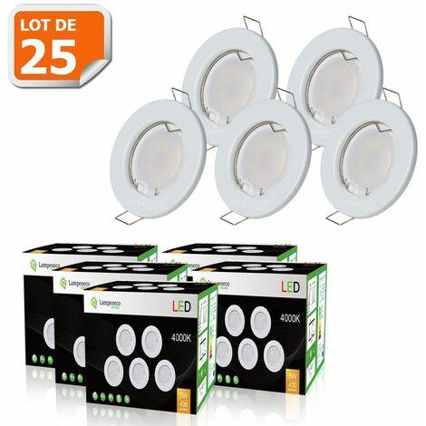 LOT DE 25 SPOT LED ENCASTRABLE COMPLETE RONDE FIXE eq. 50W LUMIERE BLANC NEUTRE