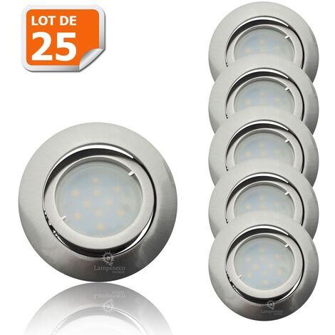 Lot de 25 Spot Led Encastrable Complete Satin Orientable lumière Blanc Chaud eq. 50W ref.209