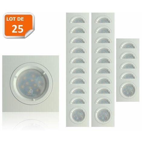 Lot de 25 Spots Led Blanc Carré lumière Blanc Neutre 5W eq. 50W ref.464