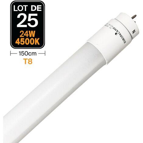Lot de 25 Tubes Neon LED 24W 150cm T8 Blanc Neutre 4500k Gamme Pro - LOTX254500K150CM