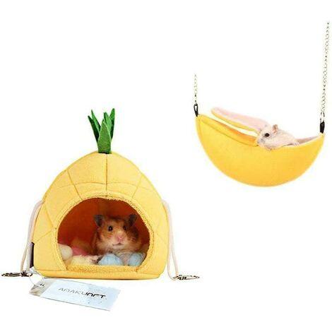 Lot de 2de literie Hamster, Chinchilla Cage Accessoires Hamac, Maison du Hamster Jouets pour Petits Animaux Sugar Glider écureuil Chinchilla Hamster Rat Jouer de Couchage